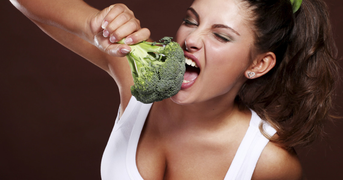Woman and broccoli